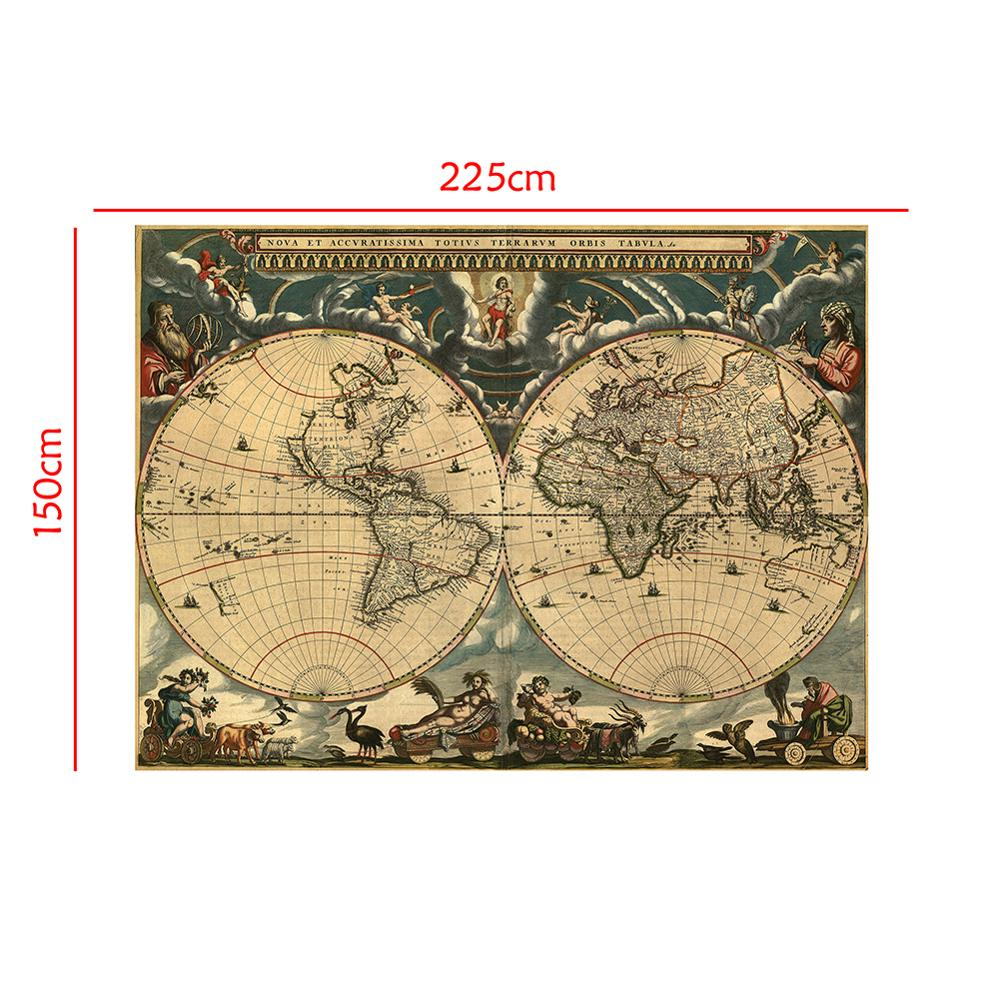 150x225cm Medieval Map Latin Portuguese Non-woven Waterproof Map Retro Style Decorative Map