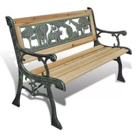 VidaXL Children Garden Bench 80 Cm Bronze And Wood Colour Wood Home Garden Bench Suitable For Garden Corridor Porch