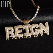 Hip Hop Iced Out Bubble Letters Custom Name Cubic Zircon Crown Drip Chain Pendants & Necklaces For Men Jewelry With Tennis Chain(China)
