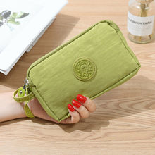 Women Fashion Small Wallet Card Holder MultifunctionThree Zippers Canvas Pouch New Coin Purse Portabe Mobile Phone Bag