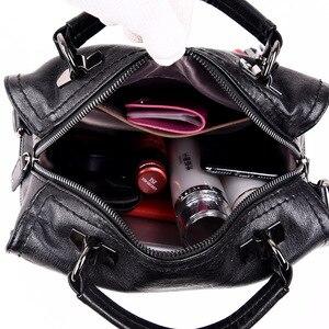 Image 5 - Luksusowe marki miękkie skórzane torebki Vintage pomponem torebki damskie projektant kobiet dużego ciężaru torby Crossbody torby dla kobiet torba na ramię