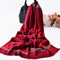 100% Cashmere Scarf Female Winter Long Wool Scarves For Women Warm Plaid Shawls and Wraps Red Stripe Pashmina Wedding Echarpe