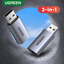 Ugreen Sound Karte 2-in-1 USB Audio Interface Externe 3,5mm Audio Adapter Soundkarte für Laptop PS4 headset USB Soundkarte