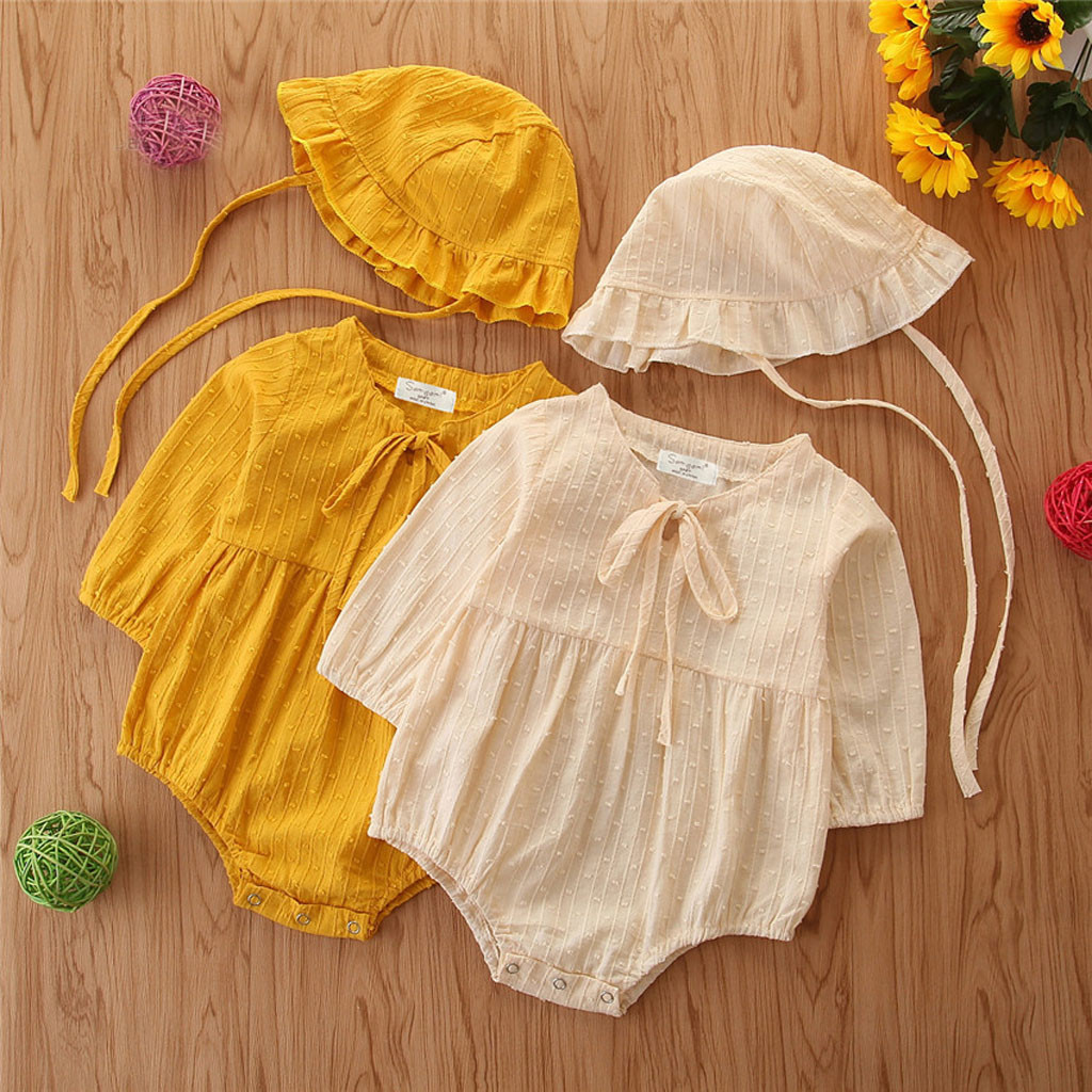 dac2c5104ae9b US $3.56 36% OFF|Baby Bodysuit With Hat 2019 Autumn Solid Baby Girl Clothes  Cotton Linen Newborn Clothes Baby Body Suit Infant Baby Girl Jumpsuit-in ...