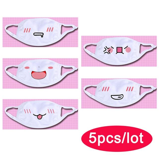 Wholesale Cute Mouth Mask Women kpop Cartoon Funny Face Masks Cotton Washable Reusable Anti Haze Dustproof Mouth-muffle White 2