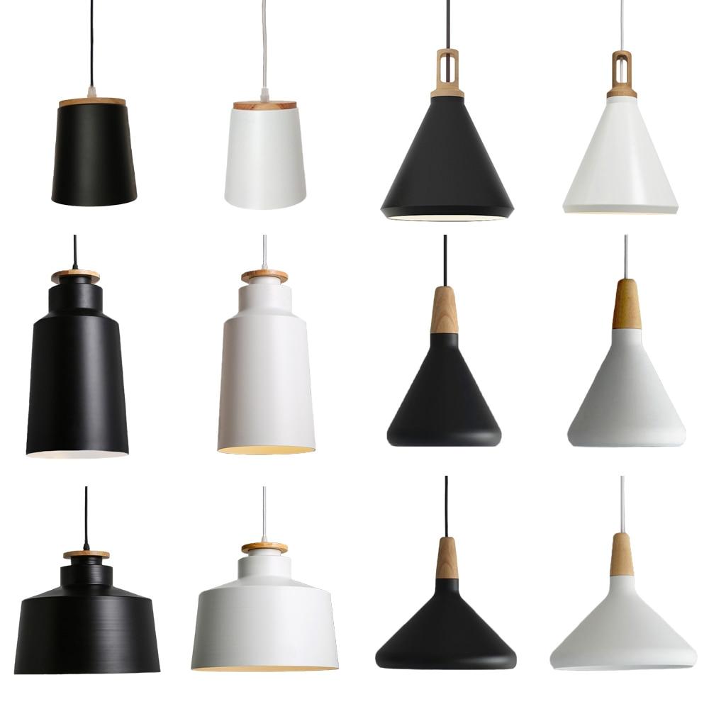 Minimalist E27 Pendant-Lights Loft-Lamp Wood Aluminum Lampshade Bar Cafe Restaurant Matt Black White Hanging-Lights Fixtures