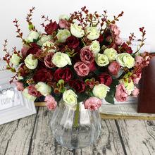 Gorąca sprzedaż 1 bukiet świeżych sztuczne róże 21 romantyczny DIY sztuczne jedwabne kwiaty na ślub recepcja dekoracji wnętrz tanie tanio 8111 Sztuczne Kwiaty Róża Bukiet kwiatów Ślub Jedwabiu