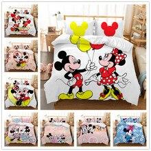 Disney Home textile Mickey Minnie Cartoon Bedding Set Lovely Couple Twin King Single Double Size Children Duvet Cover PillowCase