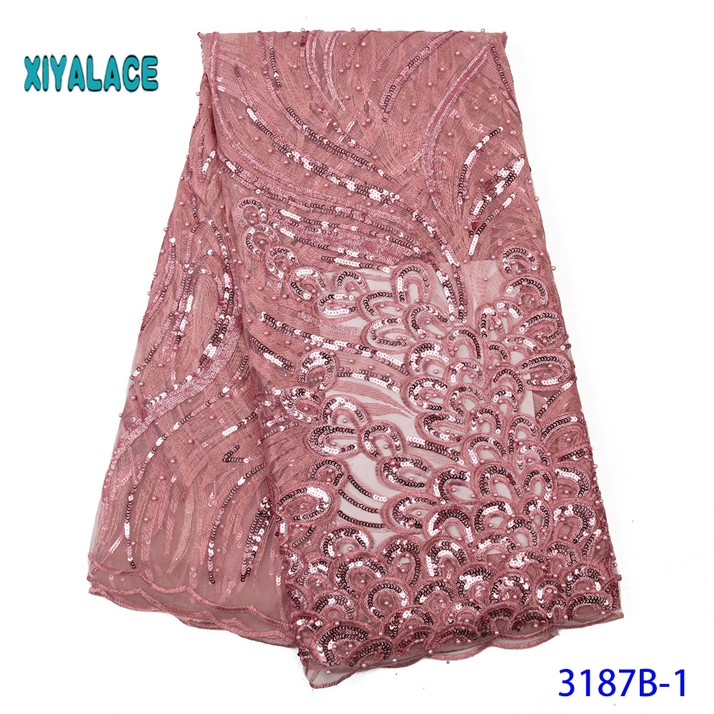 African Lace Fabric Luxury 2020 High Quality French Organza Lace Fabric New Arrival Sequins Lace Fabrics For Wedding YA3187B-1
