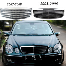 Front Racing Billet Bumper Grille Upper Grill Facelift For Mercedes-Benz E-Class W211 2003 2004 2005 2006 2007 2008 2009 Chrome