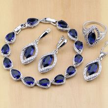 Eşkenar dörtgen mavi kristal takı beyaz CZ 925 ayar gümüş takı setleri kadınlar küpe/kolye/kolye/yüzük/bilezik