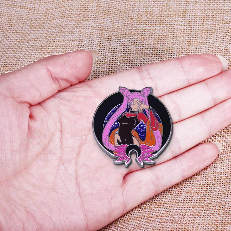 Klasik koyu bayan denizci ay düğme rozet Glitter sevimli japonya Anime koleksiyonu