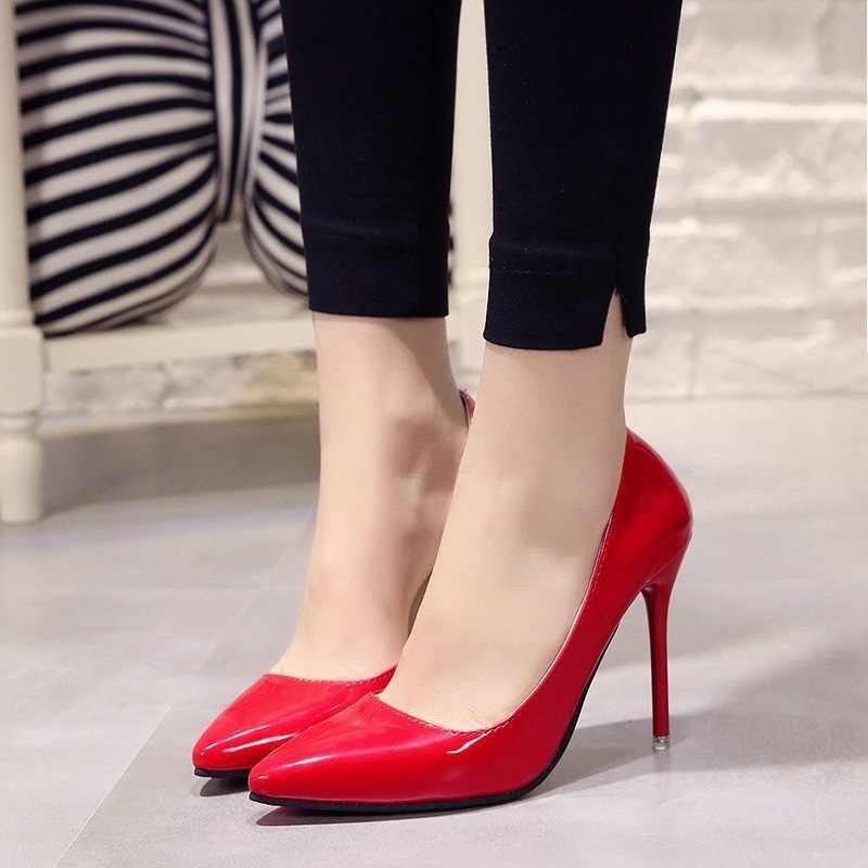 Plus size 34-44 Quente Sapatas das Mulheres Apontou Toe Sapatos de Vestido de Couro de Patente sapatos de Salto Alto Sapatos de Casamento Mulher vermelho Vinho Tinto