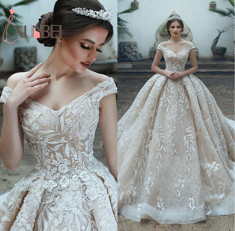 Vestido De Noiva Vintage Ball Gown Champagne Wedding Dresses Lace Appliques Wedding Dresses Sexy V Neck Bridal Gowns