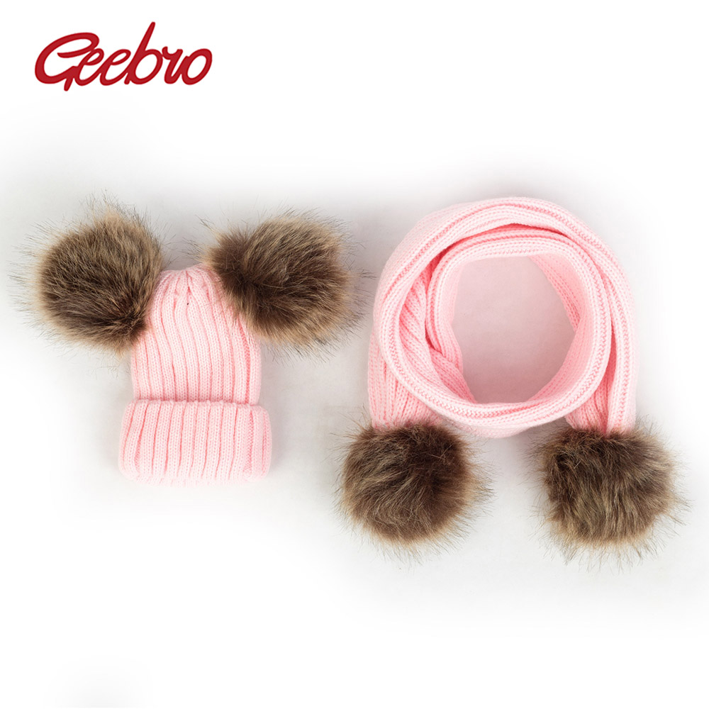Geebro Toddler Knit Hat Scarf Set Ribbed Winter Skullies Beanies With Pom Pom Baby Girls Warm Ear Hats Newborn Kids Caps  DK939