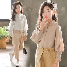 Girls Spring Summer Costume Top 2020 Solid Blouses Shirts For Teenage School Girls Blouses/shirts 8 10 12 14 Years Children Tops(China)