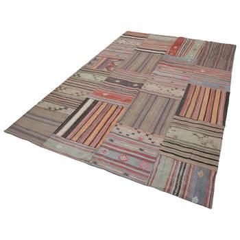 204x302 Cm חום בעבודת יד שטיחים טלאי Rug-7x10 Ft