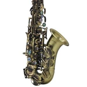 Image 5 - ヴィンテージスタイル Bb ソプラノサックスサックス真鍮素材木管楽器ケース手袋クリーニングクロスブラシサックスストラップ Mouthp