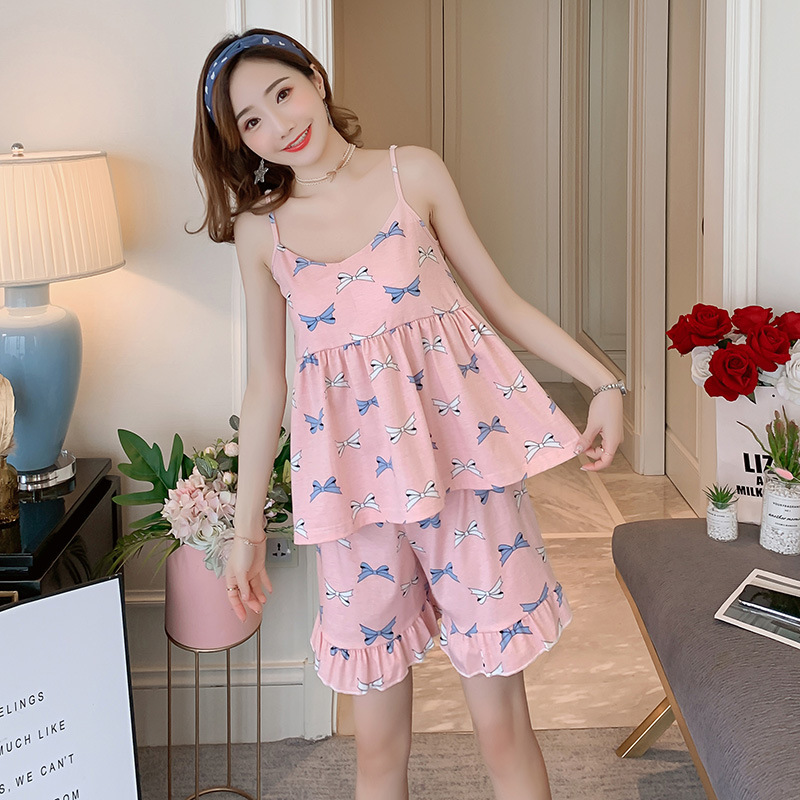 Orange Summer Combing Pure Cotton Camisole With Chest Pad Shorts Two-Piece Set Women's Sweet Clear-Outer Wear 6625 Powder