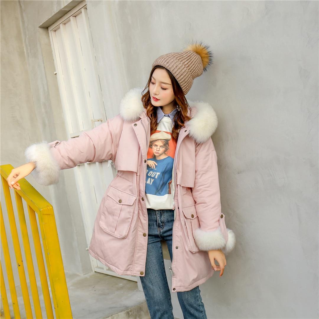 Real Fur Collar Hooded Jacket Winter Women White Duck Down Parkas Female Slim Warm Snow Long Down Sweet Coat Outwear