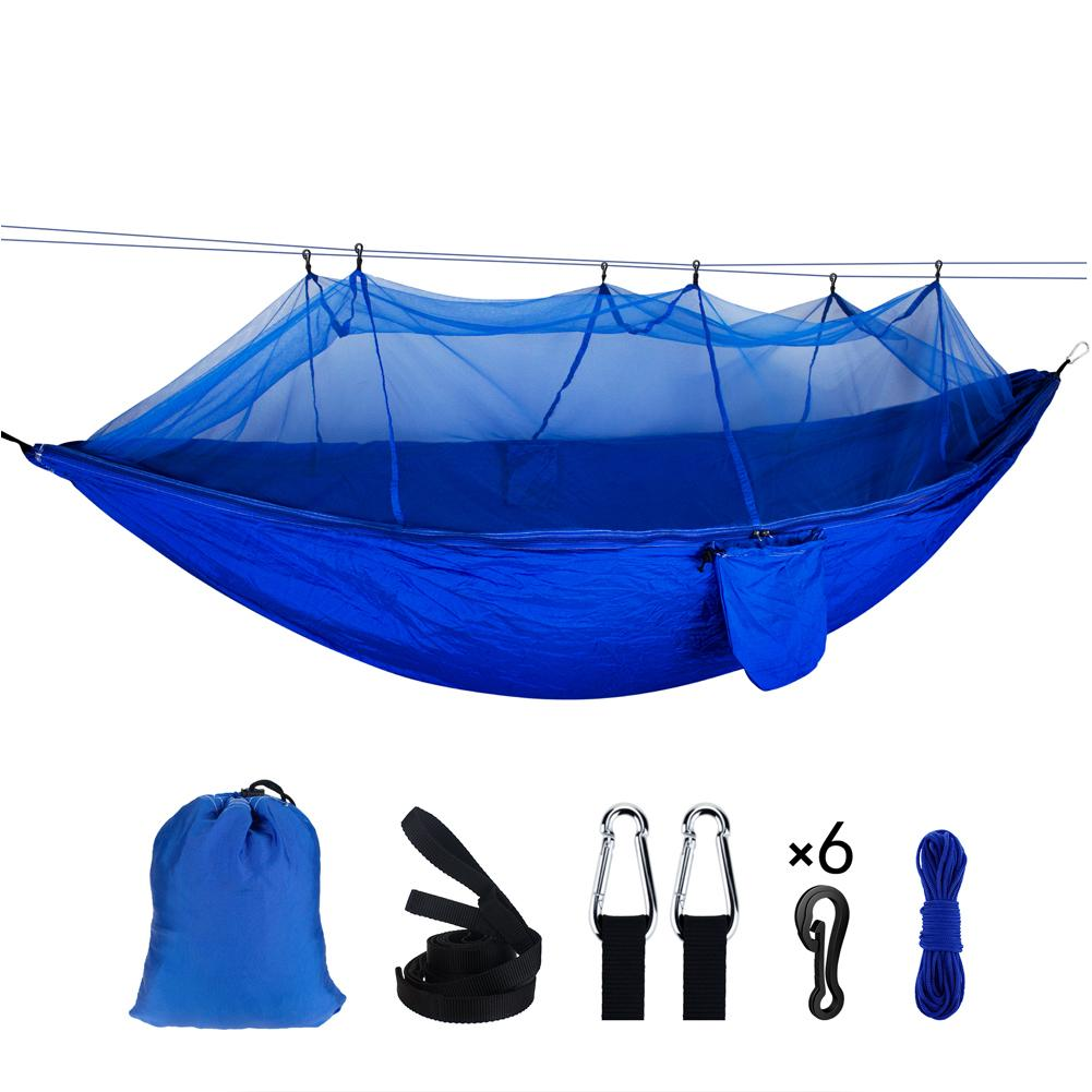 For Outdoor Camping Hunting Portable Nylon Hammock With Straps Automatic Quick Opening Backpacking Survival Sleeping Bed
