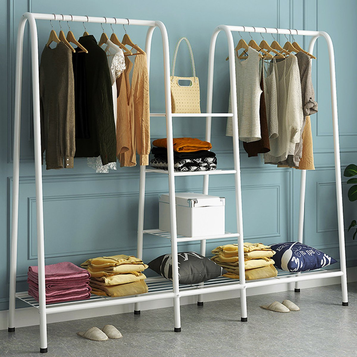 Coat Rack Metal Iron Clothing Rack Garment font b Closet b font Organizer Storage Shelf Clothes