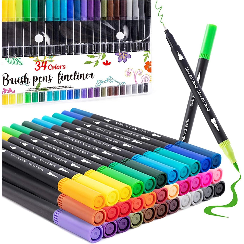 Marcador de arte de escova de ponta dupla fina forro caneta 36 cores aquarela canetas para desenho pintura caligrafia suprimentos da arte