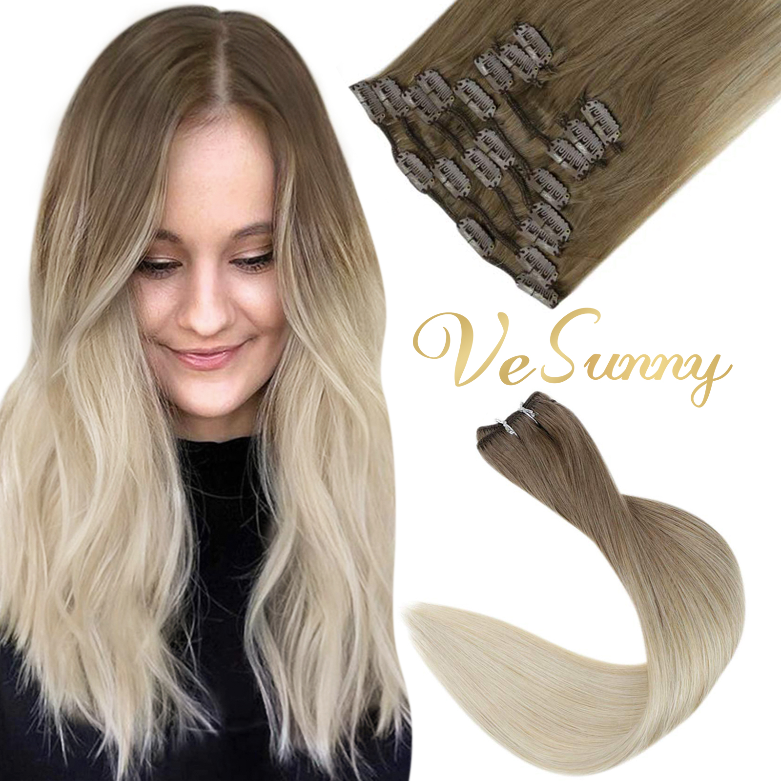 VeSunny Human Hair Extensions Clip In Blonde Thickened Double Weft Brazilian Hair 120g/7pcs Remy Hair Full Head Silky Straight