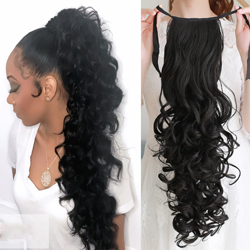 Wave Curls Extended Long Ponytail Clip Curly Long Hair Ponytail Wig Wig Heat-resistant Synthetic Hair Clip Headwear 55CM