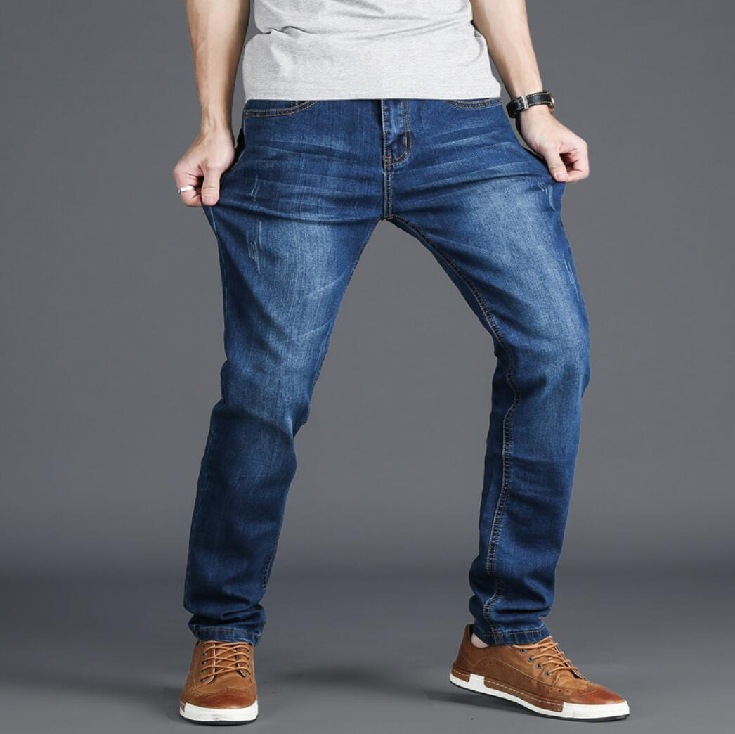 2020 Spring And Autumn Style Jeans Men's Stretch Slim Feet Men's Mid-High Waist Plus Fat People Was Thin Long Pants TH814-01-09