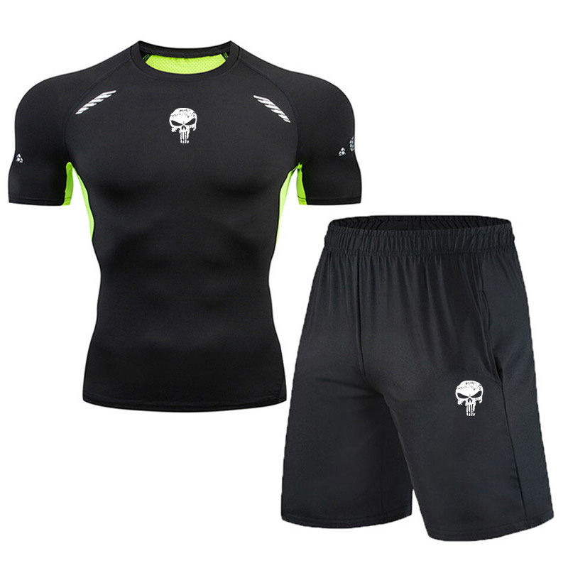 Punisher Spiderman Men Running Sets Summer Casual Shorts +T Shirts Two Pieces Sets Summer Quick Dry Jogging Track Sets