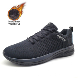 Winter Men Running Shoes Outdoor Warm Lining Fur Men Lace Up Sport Shoes Comfortable Trainers Athletic Jogging Men Sneakers