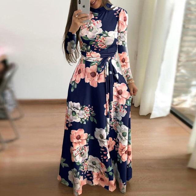 Plus Size Spring Autumn Womne's Dress Bohomia Flower Print Maixi Dresses Fashion Belt Tunic Boho Eveing Party Midi Dress Vestido 2