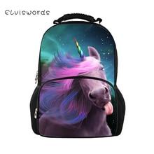 ELVISWORDS Childrens Backpacks Fantasy Unicorn Horses Pattern Kids School Book Bags Cartoon Animal Teenagers 3D Large Backpack