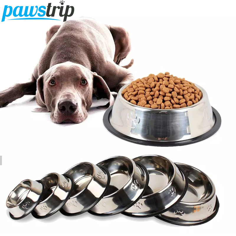 6 Size Stainless Steel Dog Bowl For Dish Water Dog Food Bowl Pet Puppy Cat Bowl Feeder Feeding Dog Water Bowl For Dogs Cats