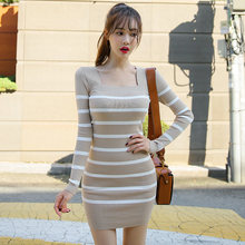 2020 autumn and winter new Korean temperament slim knit striped fashion bag hip bottoming sweater dress(China)
