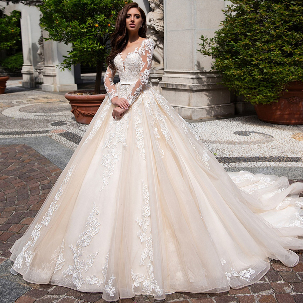 Ruby Bridal Floor Legth Wedding Dress 2020 Court Train Bridal Gown Long Sleeves свадебное платье Champagne Tulle Lace платье