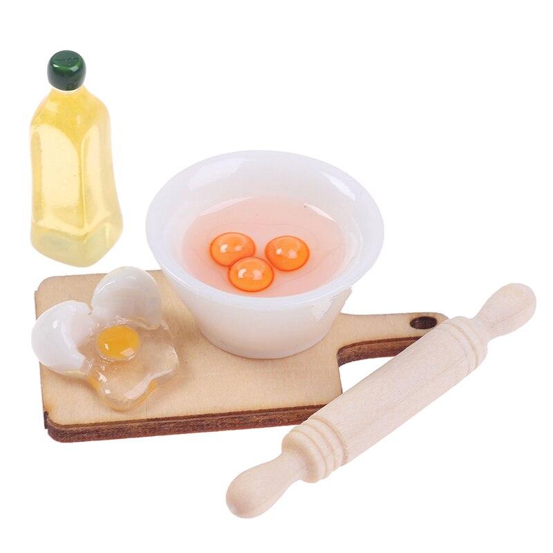 Nowy 5 sztuk/zestaw 112 Dollhouse miniaturowe śliczne Rolling Pin miska na jajka oliwy z oliwek zestaw akcesoriów kuchennych