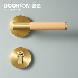 Image 2 - Dooroom Brass Leather Door Lever Set Modern Light Luxury Multi Colors Interior Bedroom Bathroom Wood Door Lock Set Dummy Handle
