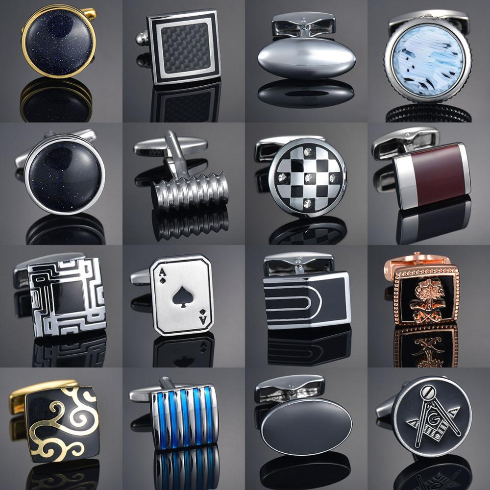 qualite-gemmes-artisanat-boutons-de-manchette-bouton-fleur-motif-or-cheval-motif-tissu-francais-ovale-chemise-gemelos-boutons-de-manchette