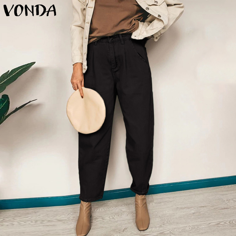 VONDA Fashion Women Pants 2020 Casual Loose Solid Color High Waist Zipper Cropped Pants Retro Ladies Straight Trousers Plus Size