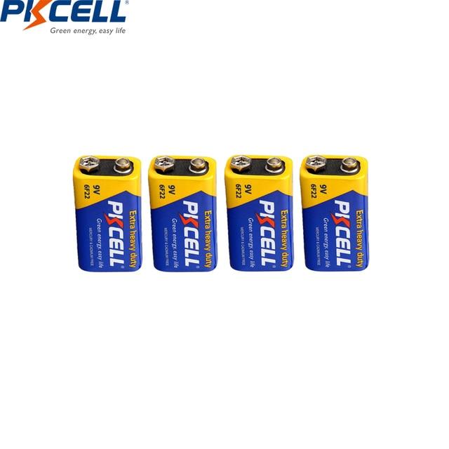 PKCELL batería Extra resistente de carbono de Zinc, 9 V, 6F22, igual a CR9V, ER9V, 6LR61, para termo electrónico, 4 Uds.