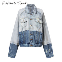 Future Time Autumn Winter New Patchwork Turn Down Collar Jean Jacket Women Loose Casual Blue Fashionable Women Coats Female