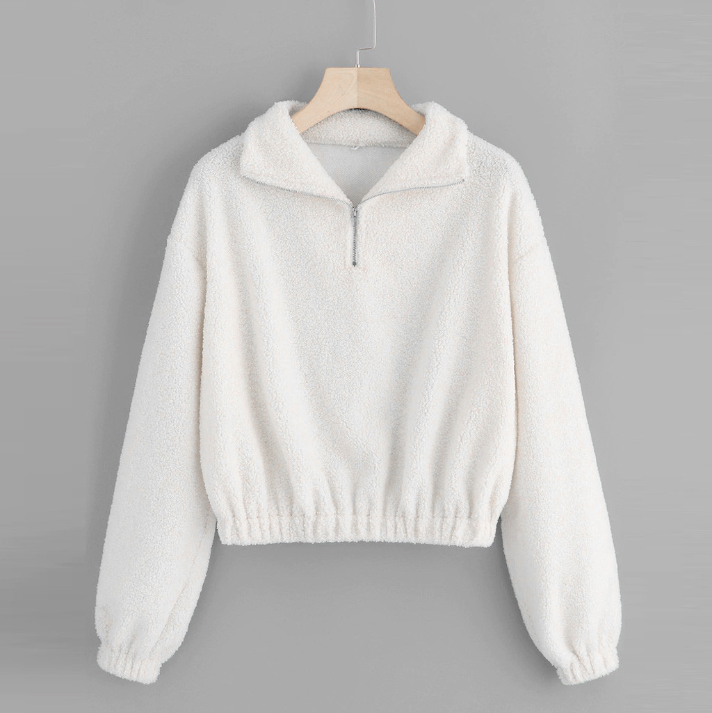 Women's Sweatshirt Long Sleeve Casual Quarter Zip Elastic Hem Sweatshirt Turndown Collar Pullover Tops Blouse Winter Hoodies #D8