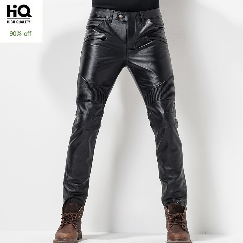 European Autumn Winter Slim Mens Full Length Cowhide Pants Windproof Thick Moto Biker Pleated Genuine Leather Male Pencil Pants