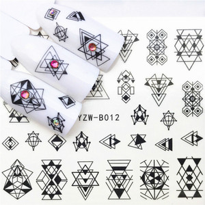 1 Pcs Sexy B012 Black Pattern Nail Slider Black Russia Letter Sticker Summer Flamingo Decals Adhesive Manicure Nail Decorations