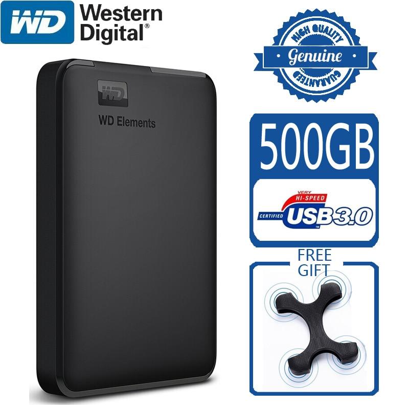 WD Elements 500 Гб портативный внешний жесткий диск USB 3,0 HD HDD Емкость SATA запоминающее устройство оригинал для компьютера ПК PS4 ТВ