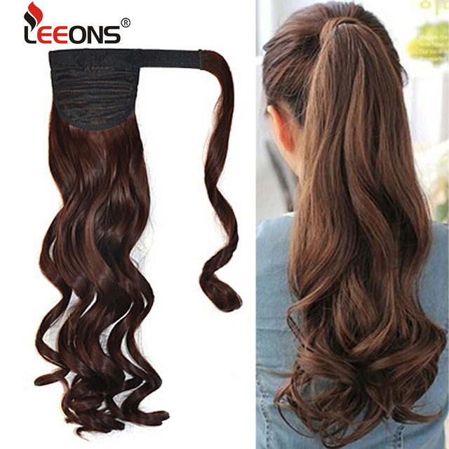 "Leeons 21""Straight Synthetic Clip In Drawstring Ponytail Hairpieces For Women Heat Resistant Wrap Around Pony Tail Extensions"