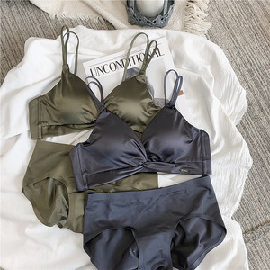 Image 4 - Wriufred Light luxury satin bra sets soft cups wireless gathered lingerie with panties comfortable seamless women underwear set