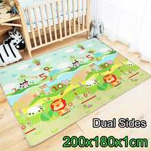 180X200CM Baby Mat Cartoon LDPE Kid Play Mat Foldable Anti-Skid Carpet Children Game Mat Crawling Rug Infant Developing Game Pad(China)